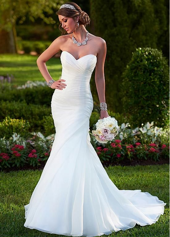 Elegant Organza Satin Sweetheart Neckline Natural Waistline Mermaid ...