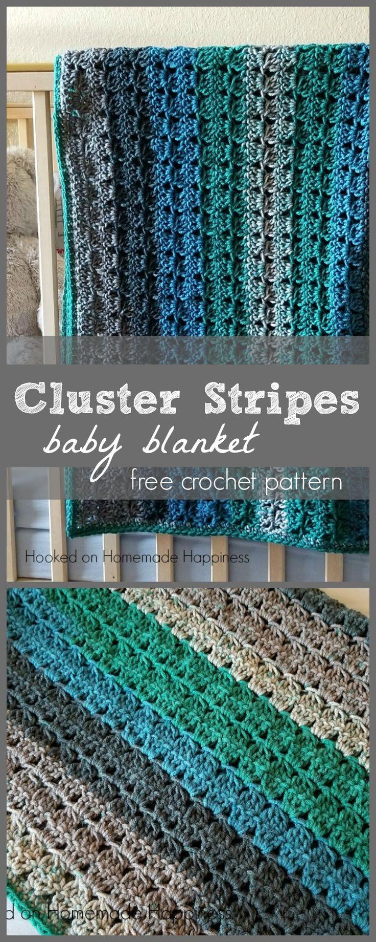 Cluster Stripes Baby Blanket Crochet Pattern | Manta, Ganchillo y ...