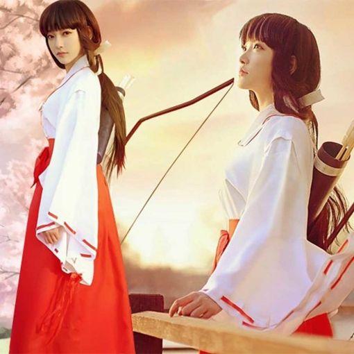 Photo of InuYasha Kikyo Miko Kimono Cosplay Costume Japanese Witch Women's White Kimono Outfit