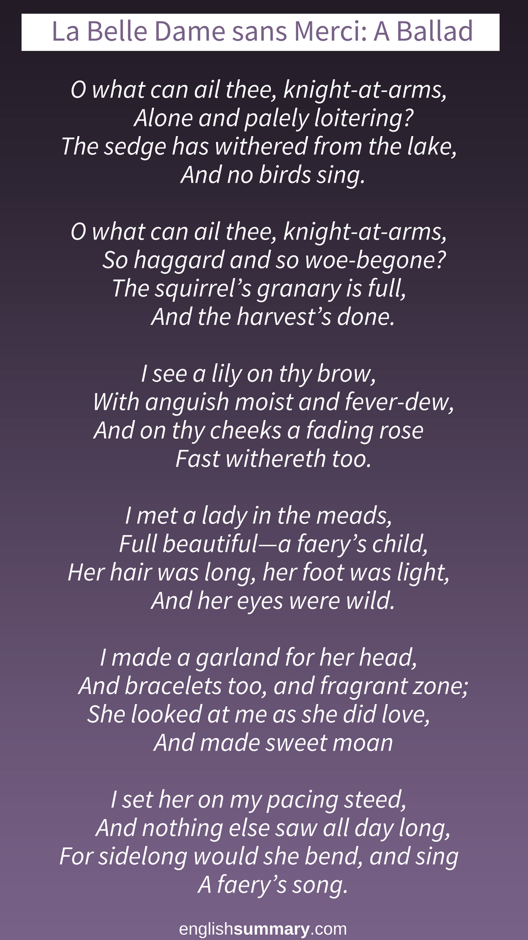 La Belle Dame San Merci Poem By John Keat Keats Bright Star Sparknotes