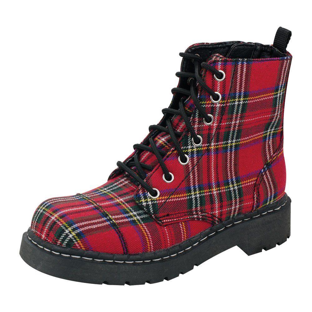 T U K Shoes Anarchic 7 Eye Red Tartan Combat Boots The Red Plaid Anarchic Combat Boot Comfortable Chunky Anar Boots Womens Combat Boots Combat Boots