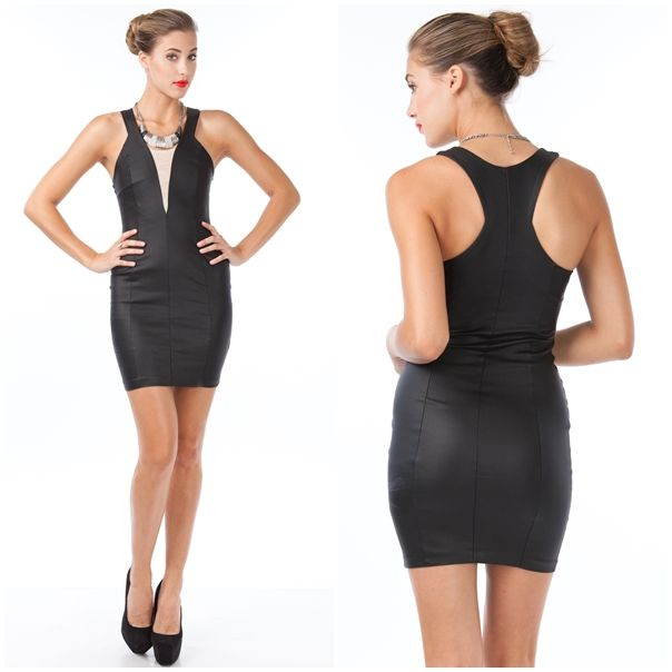 Pleather Split Mesh Speedracer Dress