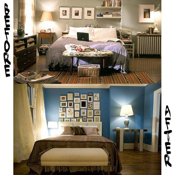 Carrie Bradshaw S Before And After Bedroom I Personally Enjoy The Lived In Ness