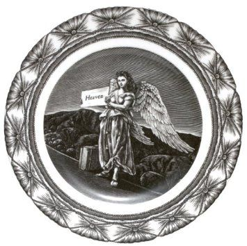 Amazon.com: Hitchhiking Angel 10-3/4-inch Dinner Plate - Quirky Art on a Plate!