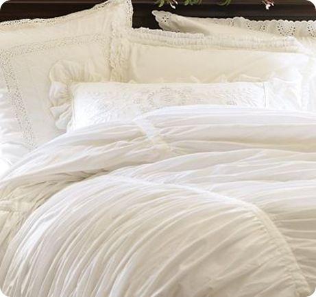 White Ruched Duvet Cover White Bed Set Bedding Master Bedroom White Bedding