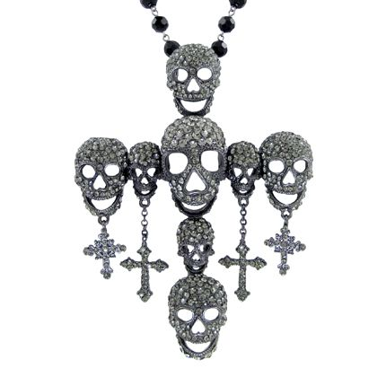 Large Crystal Eight Skull Cross Necklace