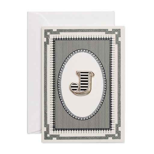 Letter J luxury enamel pin badge card, complete with card by Chase and Wonder