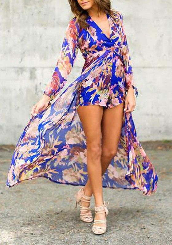 6d4a40d80ba Blue Floral Irregular High-Low Swallowtail High Waisted Boho Long Sleeve  Plus Size Short Chiffon Romper Playsuit With Maxi Overlay