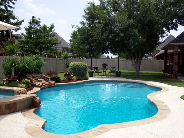 Oklahoma Backyard Paradise, This is a 7ft deep salt water gunite/concrete  heated pool with waterfall spill over spa flagstone surrounding and  coolcrete ... - Oklahoma Backyard Paradise, This Is A 7ft Deep Salt Water Gunite