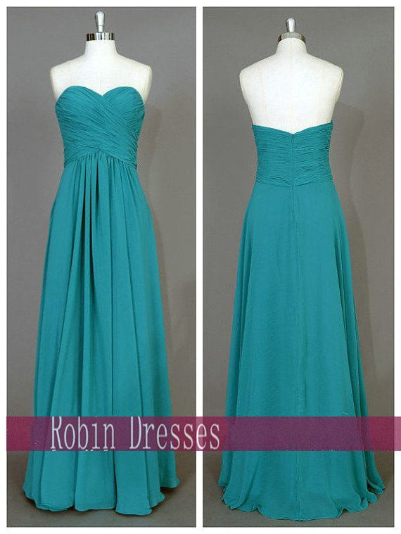 New Custom Teal Bridesmaid Dresses Long Strapless by RobinDresses, $89.00