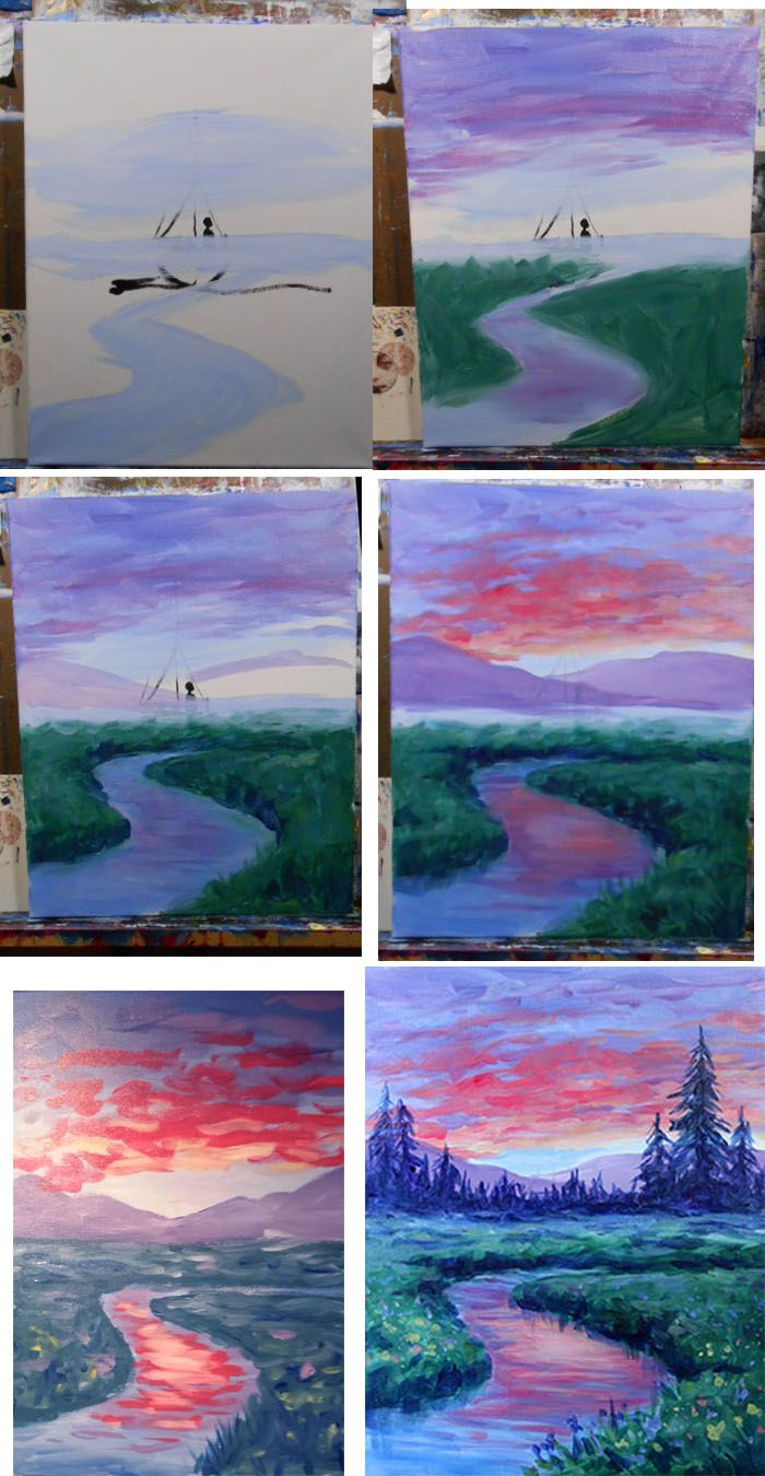 Dawn On The Meadow Process Watercolor Paintings Tutorials