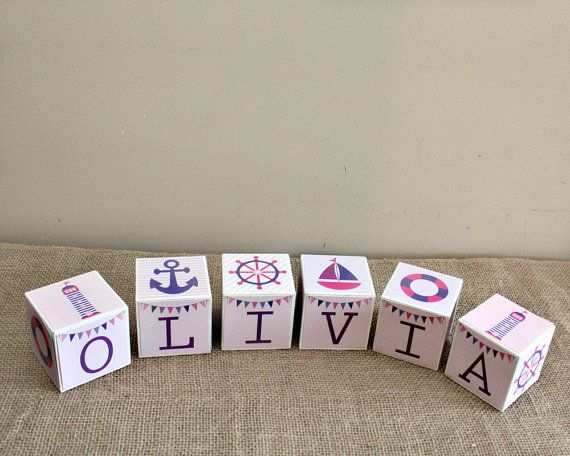 Nautical theme baby blocks personalize baby name blocks unique nautical theme baby blocks personalize baby name blocks unique baby gift pink purple negle Image collections