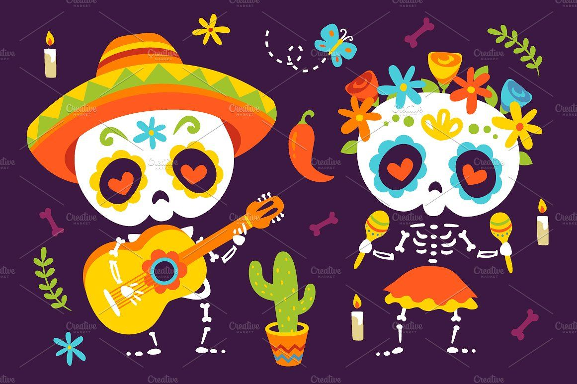 Day Of The Dead Set Day Of The Dead Cartoon Styles Doll Face Paint