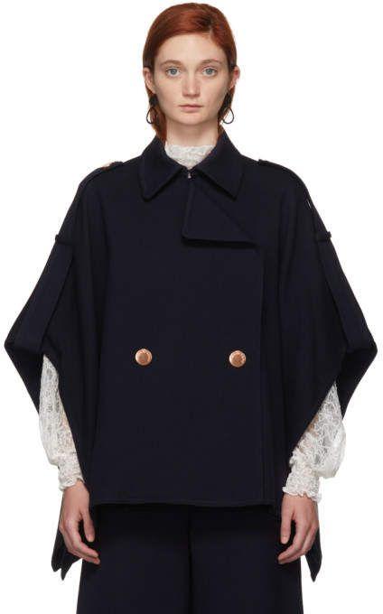 49c97e2b88 See by Chloe Navy Cape Coat | Products | Cape coat, Jackets, Coats ...