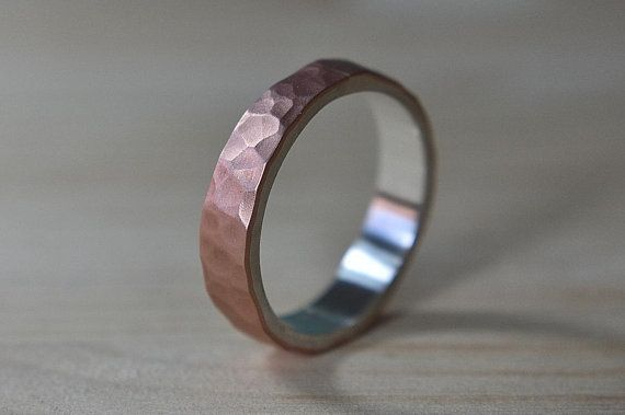 6mm Mens Copper And Silver Ring Hammered Wedding Band
