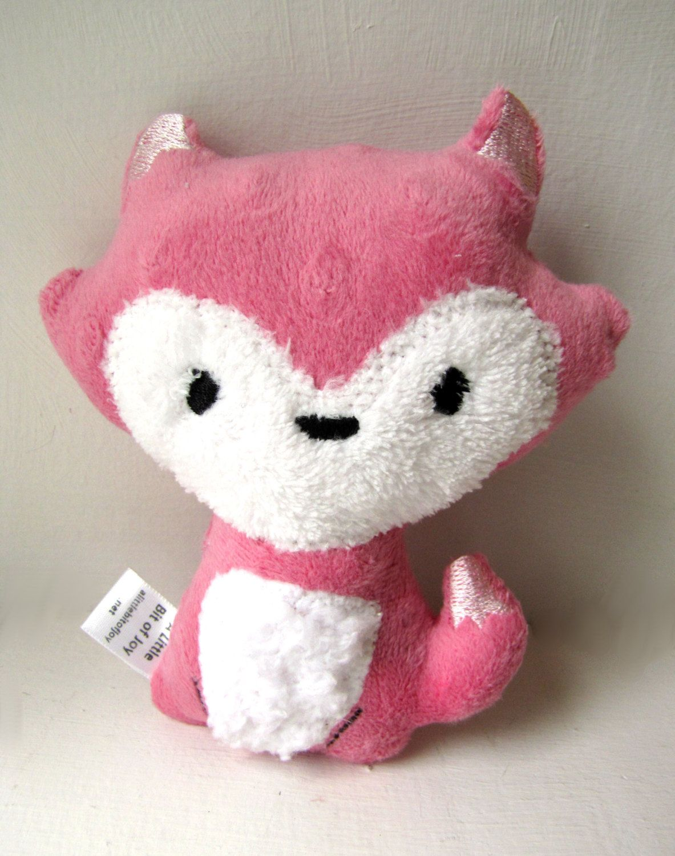 Plush Fox Rattle Pink Girl Woodland Stuffed Animal Toy