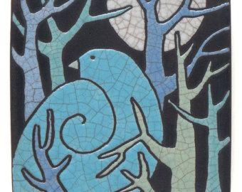 Bird,Tree,Ceramic Wall Art ,Aqua, Turquoise Bird,Ceramic tile,handmade 4x4 raku fired art tile