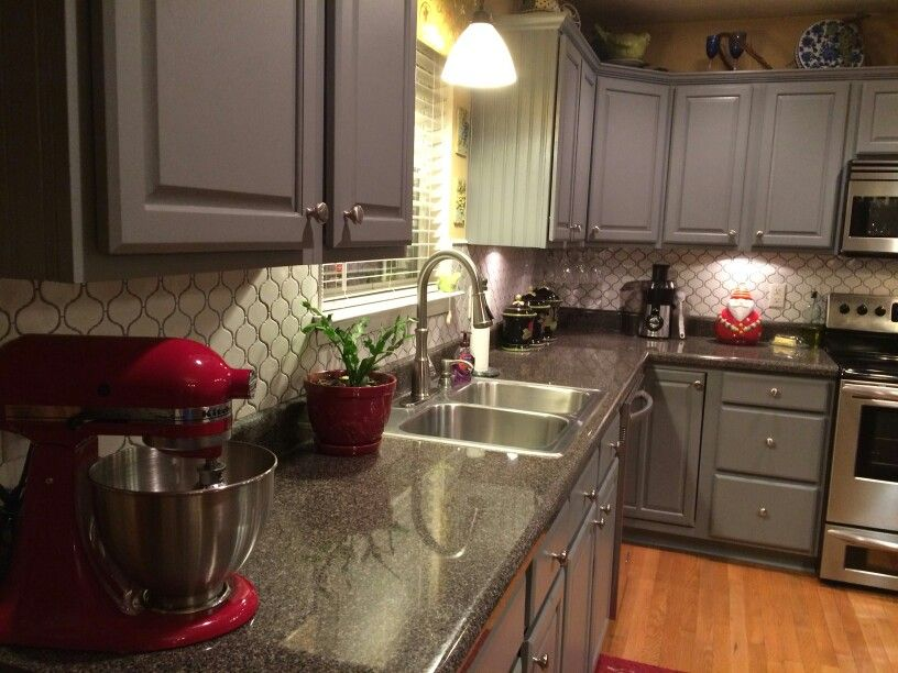 We painted my oak cabinets gray and put in the beautiful ...