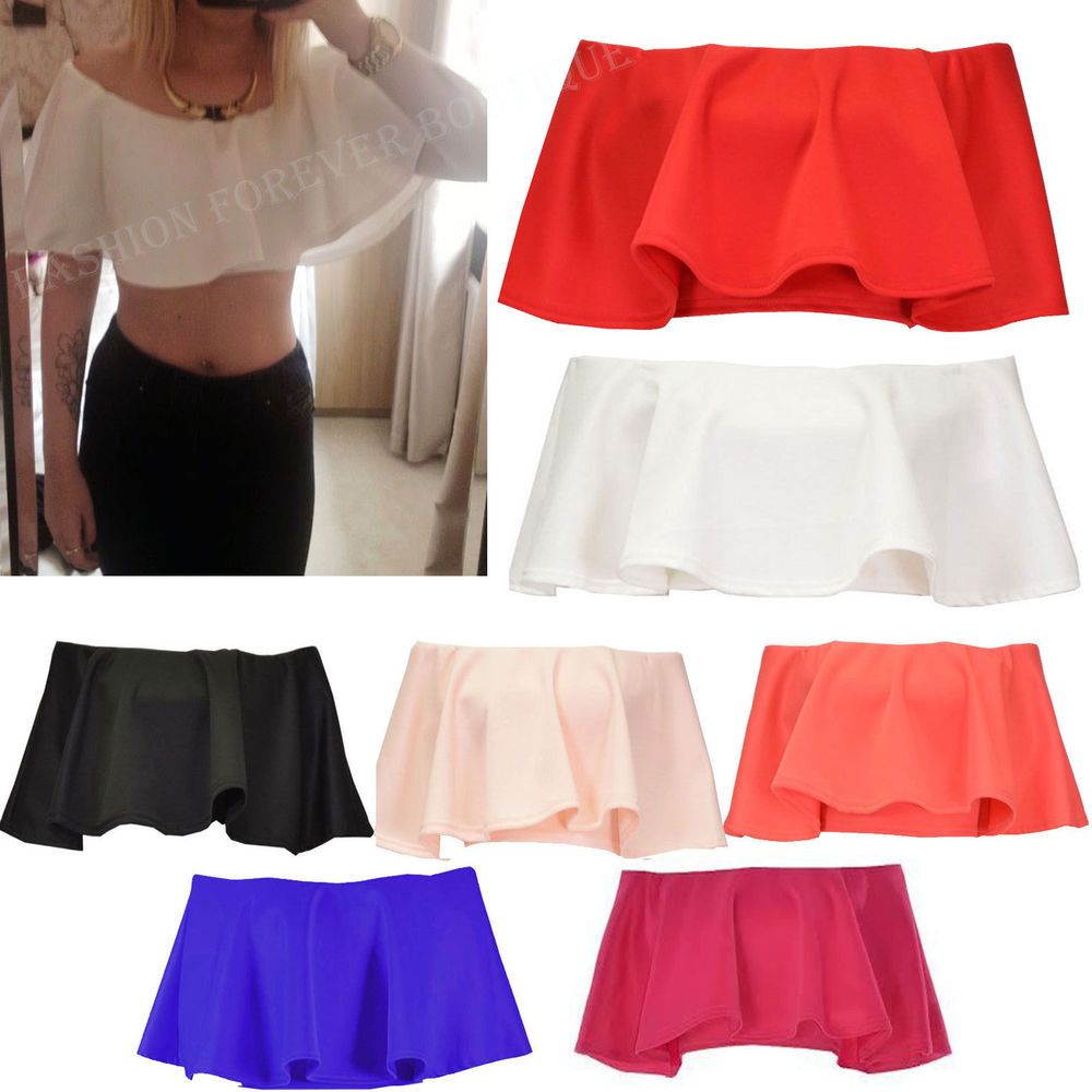 6535c2d3a9 Ladies Womens Frill Off The Shoulder Ruffle Boobtube Fitted Crop Top Bralet  Bra  FamousBrand  OtherTops  PartyCasual