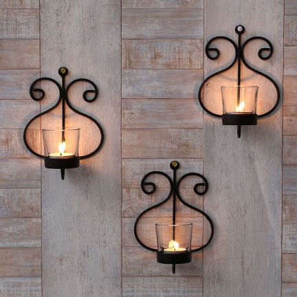 Metalex Pretty Votive Candle Holders Wall Decor Set of Six Pieces ...