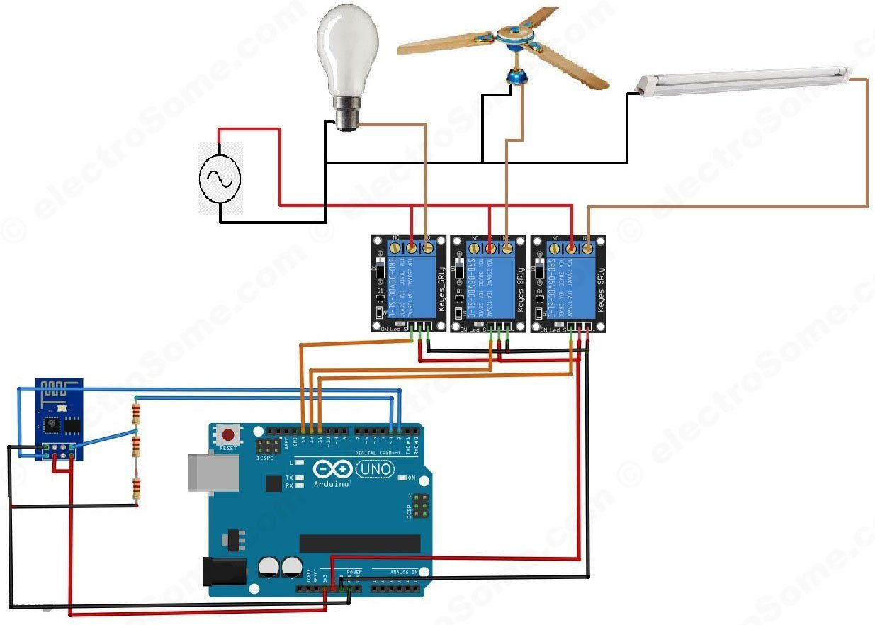 Home Automation System using Arduino and ESP8266 - Circuit Diagram
