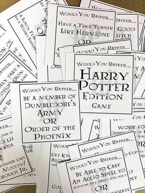 picture about Would You Rather Cards Printable referred to as Harry Potter Would Your self Really - Additionally 2 Even more Absolutely free