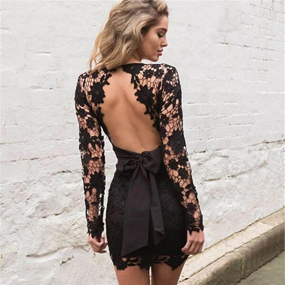 01d9e268ffbeb Autumn Deep V Neck Mini Dress Hollow Out Black Elegant Party Dresses Tie  Blackless Lace Patchwork Halter Dress