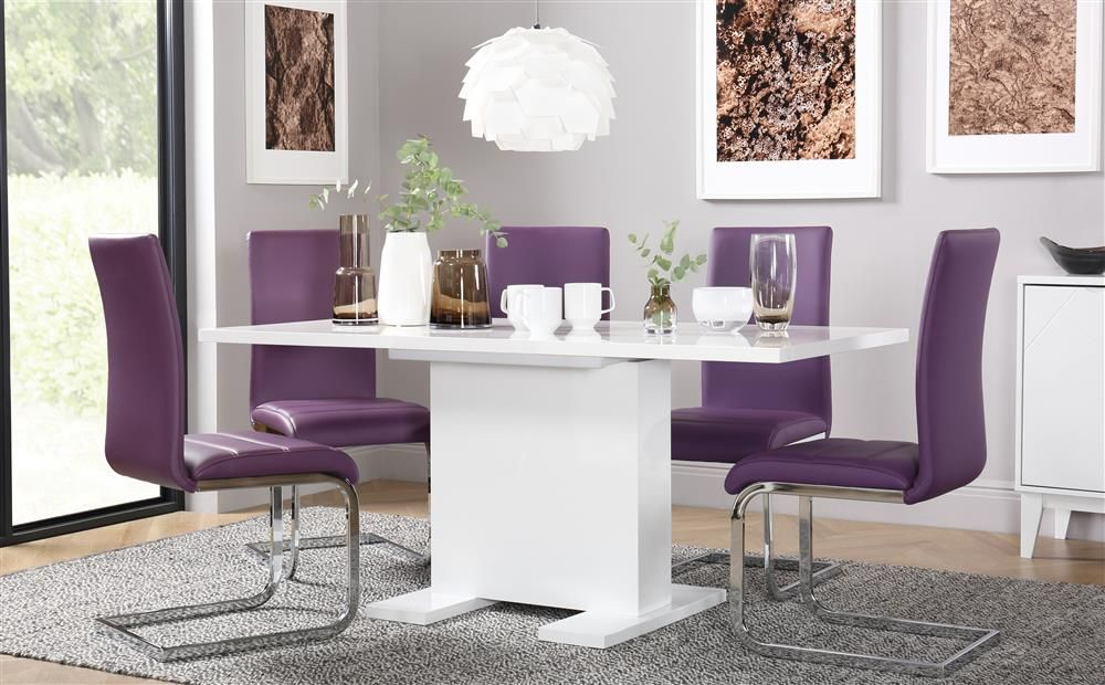 Osaka White High Gloss Extending Dining Table with 4 Perth ...