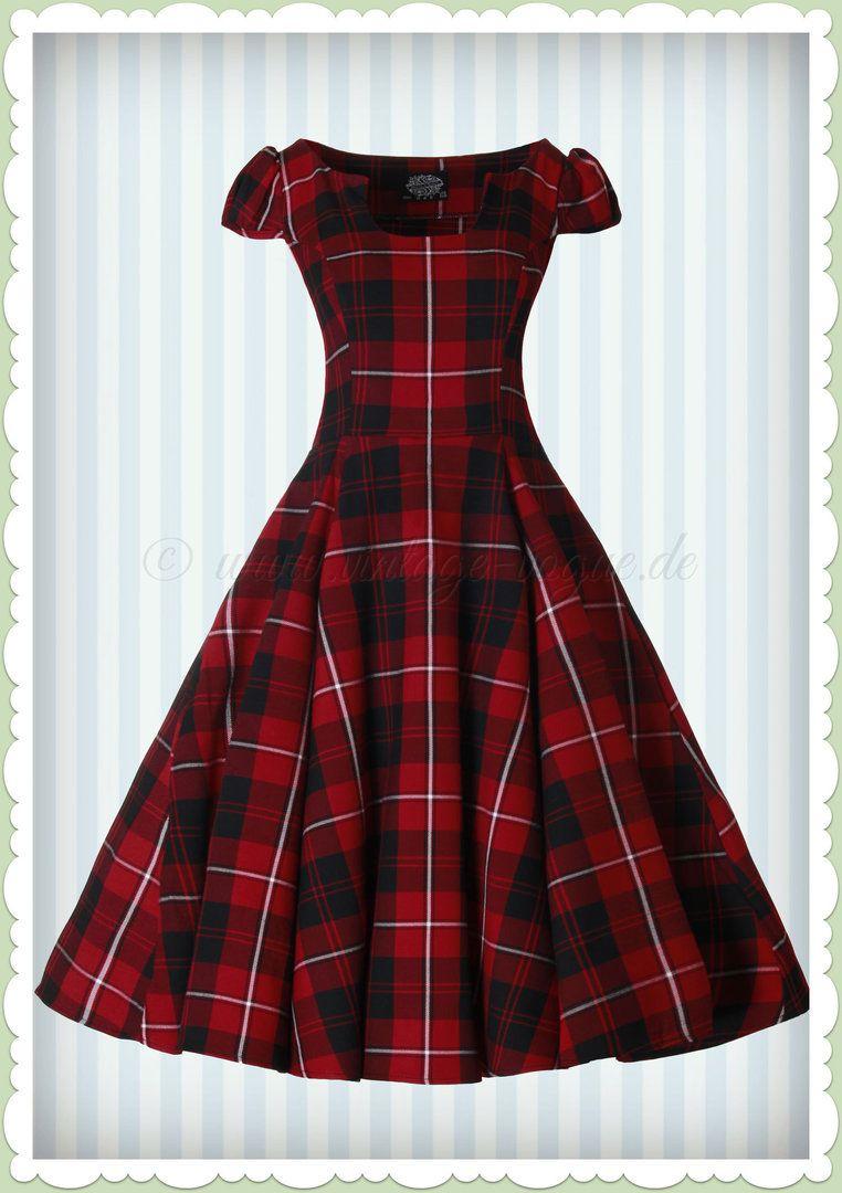 Hearts & Roses 13er Jahre Retro Karo Petticoat Kleid - Red Tartan