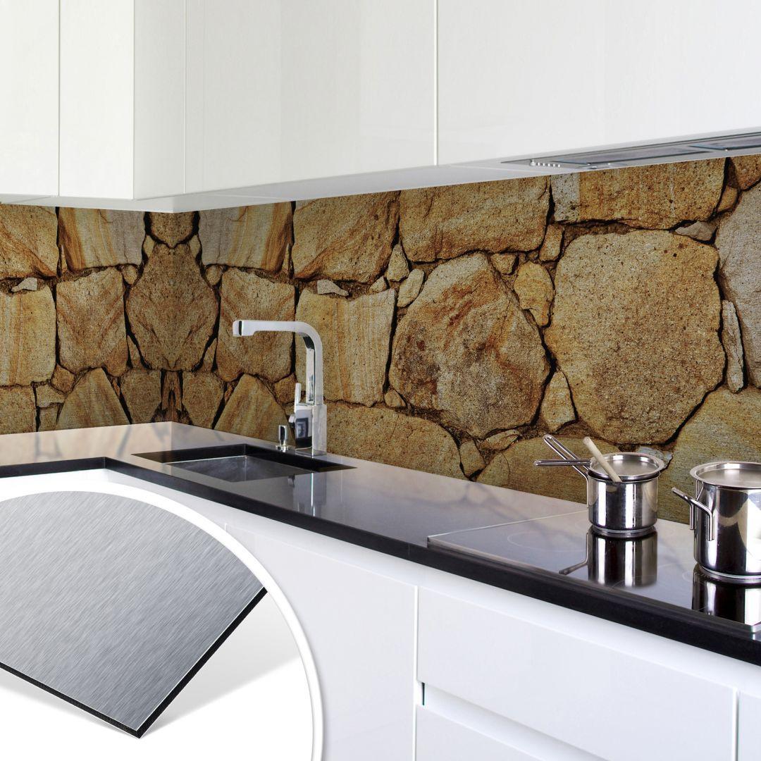 Küchenrückwand - Alu-Dibond-Silber - Mauer 03 | Walls