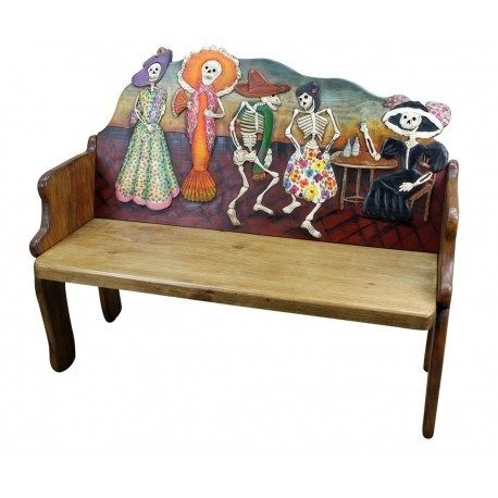 Hand Painted Furniture Look At This Bench Carved And Day Of The Dead Catrina Motif Each One Is Slightly Diffe Unique