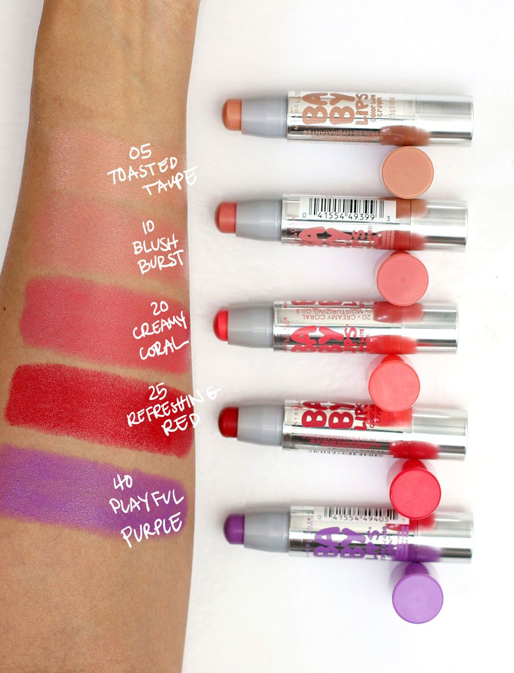 Maybelline Baby Lips Color Balm Crayon Swatches Cake