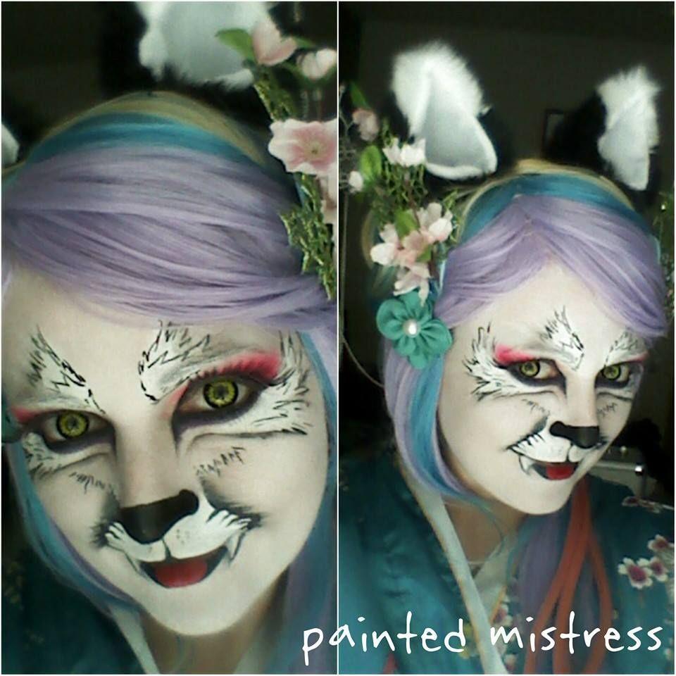 Wolf Geisha Anime Cosplay Costume Face Paint Facepainting Neko