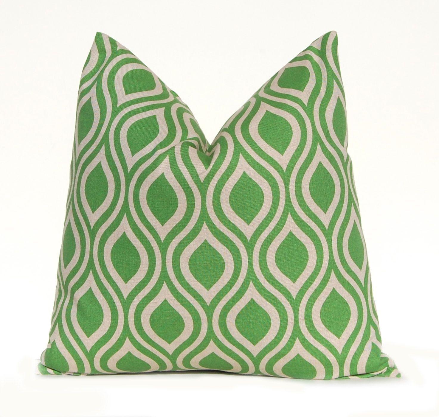 Euro Sham Decorative Throw Pillow Cover 24 x 24 Green on Linen