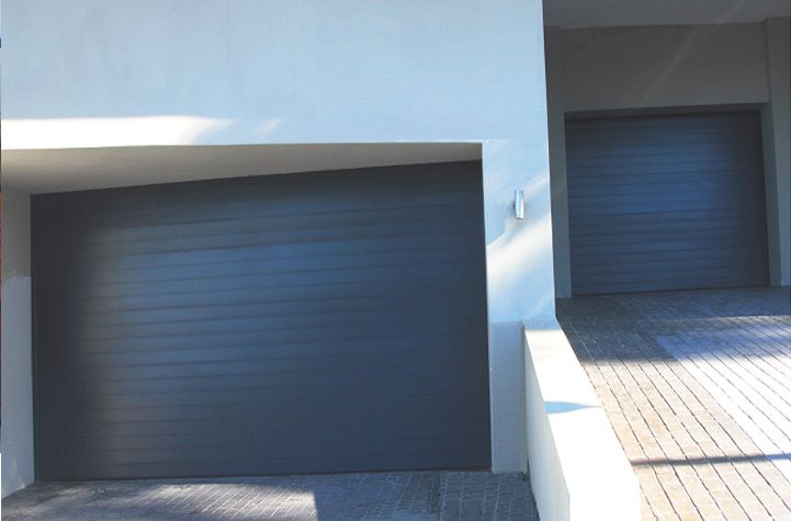 Double And Single Aluminium Sectional Overhead Garage Door Charcoal Horizontal Slats Aluminium Garage Doors