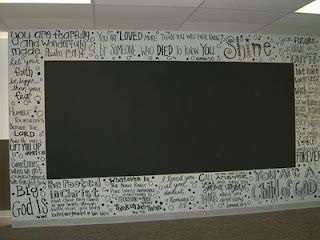 Inspiring verses on the wall of a youth room, with a chalk board in
