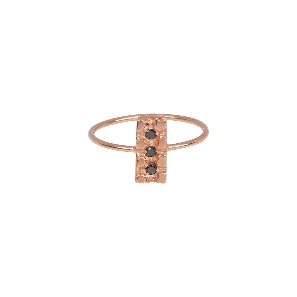 Good Daughter Jewelry Three Diamond Bar Ring. 14K Rose Gold and Black Diamond ring. Inspired by ancient Roman Byzantine jewelry. Handmade in Los Angeles, CA.  $750.00 http://www.gooddaughterjewelry.com/products/three-diamond-bar-ring