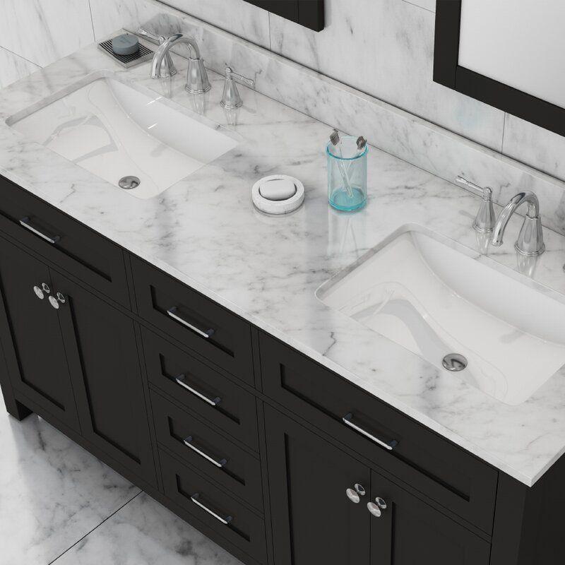 Cecilton 60 Double Bathroom Vanity Marble Countertops Bathroom Quartz Bathroom Countertops Granite Bathroom Countertops 60 double sink vanity top