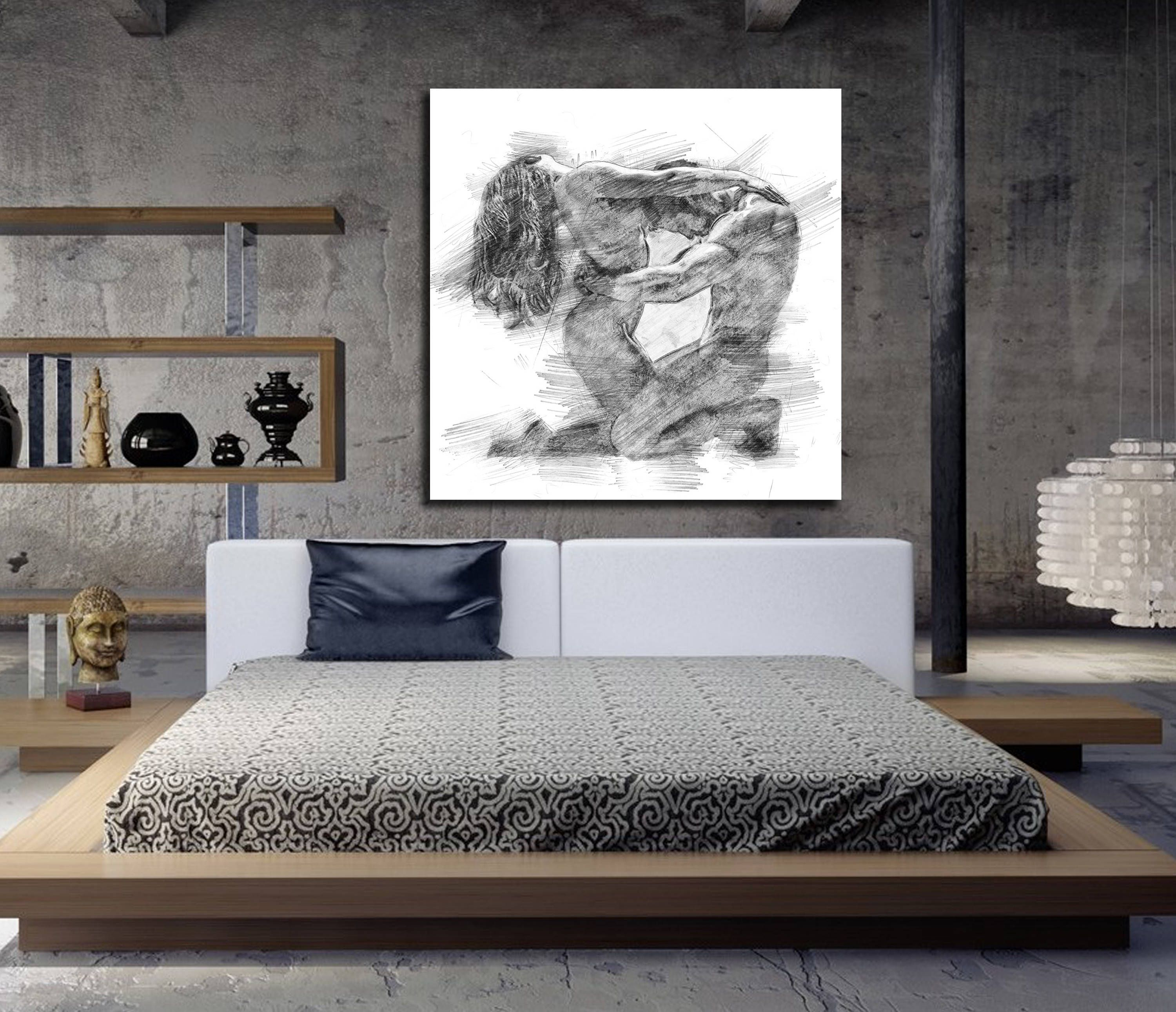 CANVAS ART His & Hers Bedroom Wall Art, Abstract Art Print, Pencil Sketch  Erotic