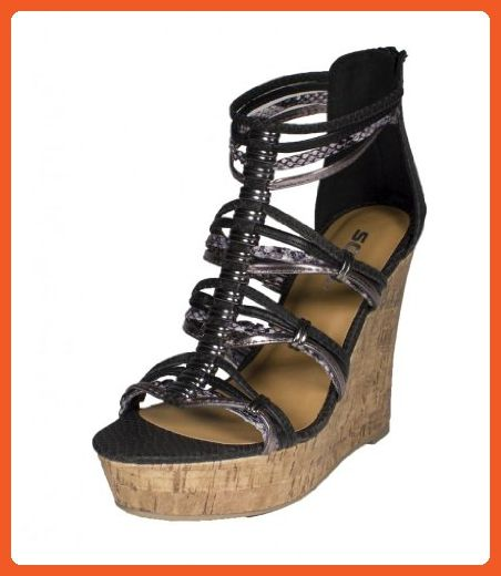 565246971f1 Pam! By Soda Strappy Metal Ringed Platform Cork Wedge Sandal with Back  Zipper