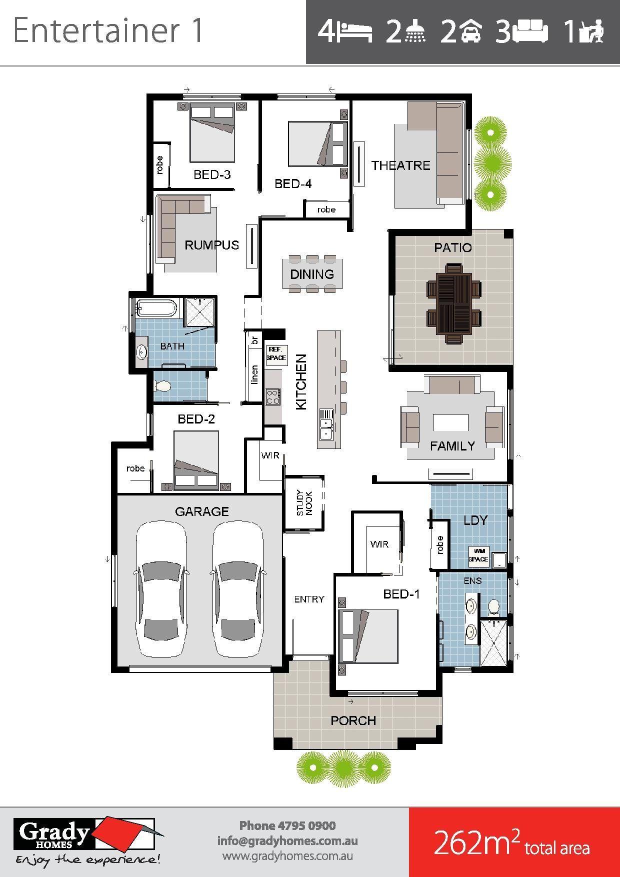 Entertainer 1a Standard Grady Homes Floor Plan Brochure 2 Floor