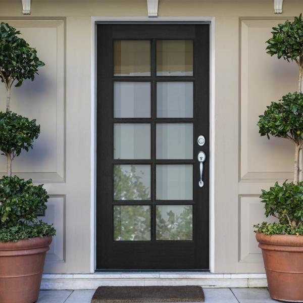 Krosswood Doors 36 In X 80 In French Lh Full Lite Clear Glass Black Stain Douglas Fir Prehung Front Door Phed Df 410 30 68 134 Lh 512 Black The Home Depot In 2021 Wood Exterior Door Black Exterior