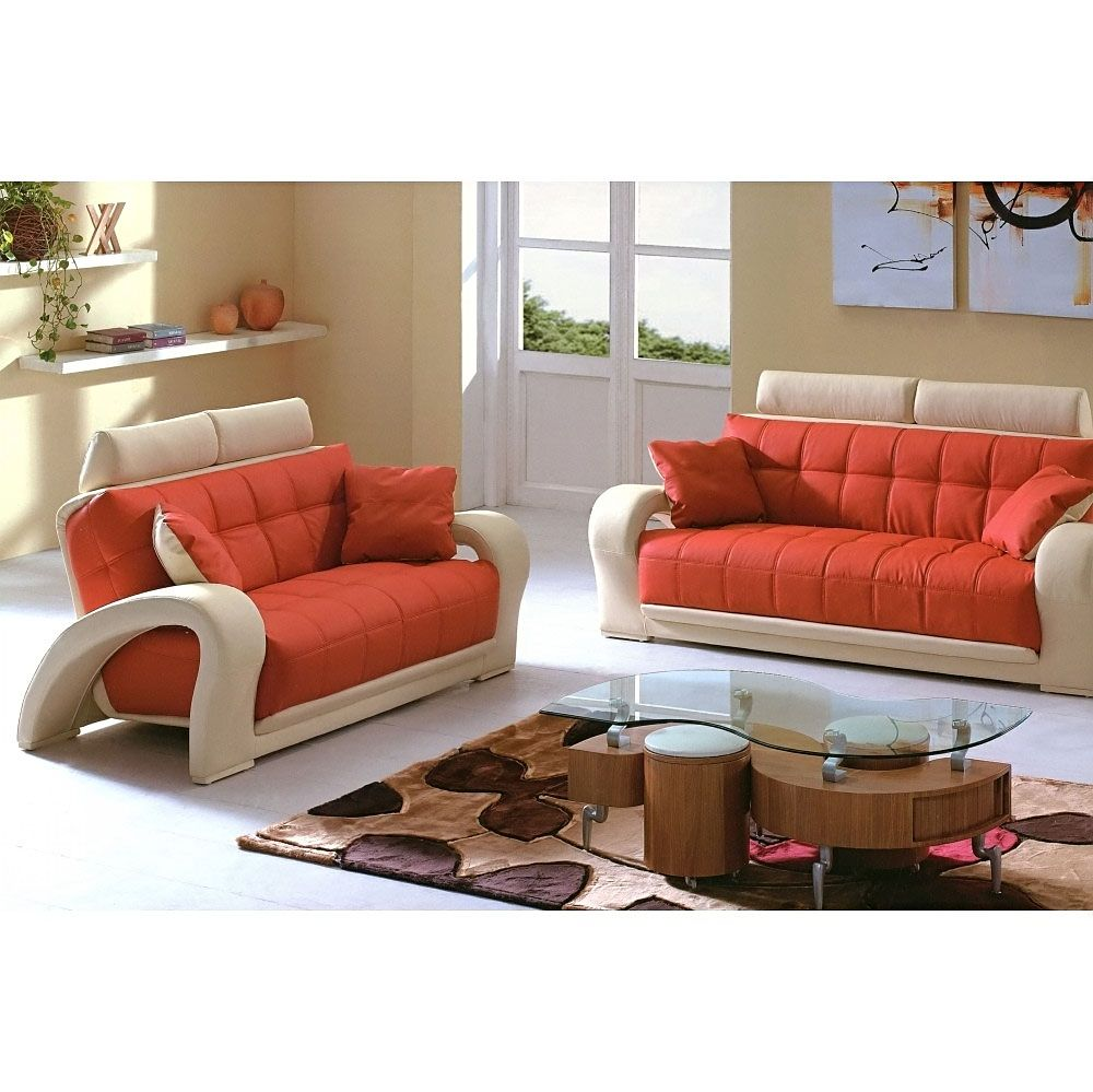 $1546 2 Pcs Living Room Set (Sofa And Loveseat) In Orange And Beige Leather