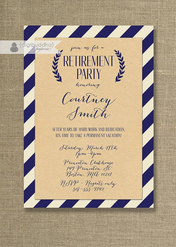 Retirement Party Invitations  Printable Black  Gold Retirement