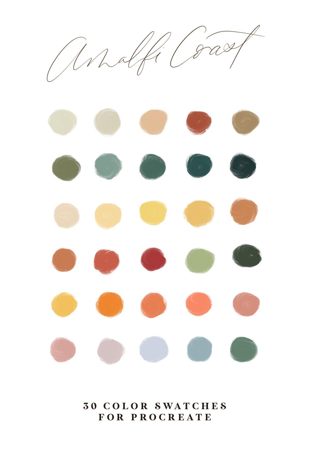 Amalfi Coast Procreate Color Palette Procreate Palette Procreate Swatches Procreate Tools Wildflower Scout Co In 2020 Jewel Tone Color Palette Coral Colour Palette Earthy Color Palette