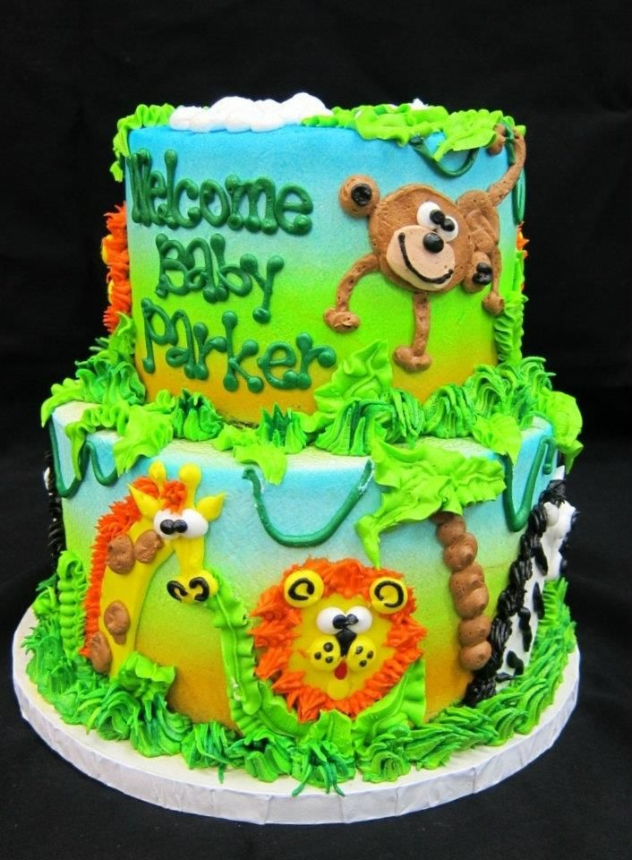 Its a jungle out there baby This baby shower cake will be a hit