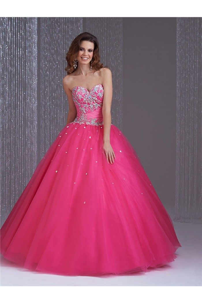 Ball Gown Strapless Hot Pink Tulle Applique Beaded Corset ...