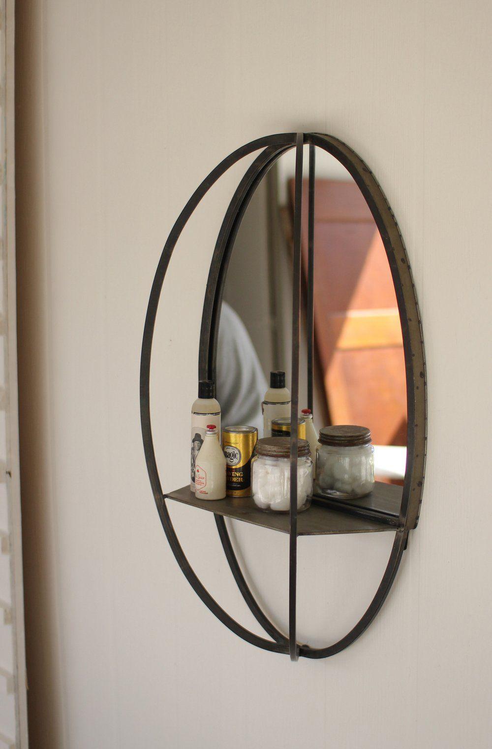 Oval mirror w/ wall shelf in 2020 Oval mirror, Modern