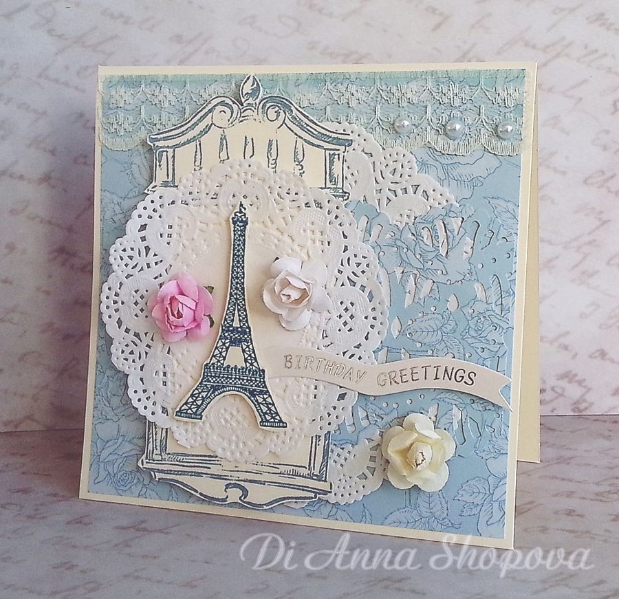 Luxury Handmade Birthday Card Female Paris Eiffel Tower Shabby