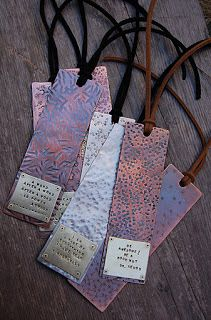 bookmarks with textured metals and hand stamped quotes